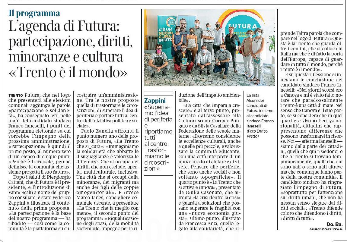 """""""L'agenda di Futura: partecipazione, diritti, minoranze e cultura. Trento è il mondo"""" - Corriere del Trentino 23/07/2020"""