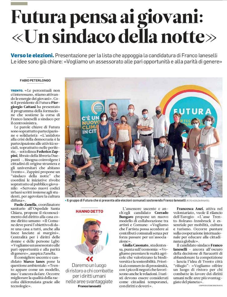 """""""Futura pensa ai giovani: un sindaco della notte"""" - Trentino, 23/07/2020"""