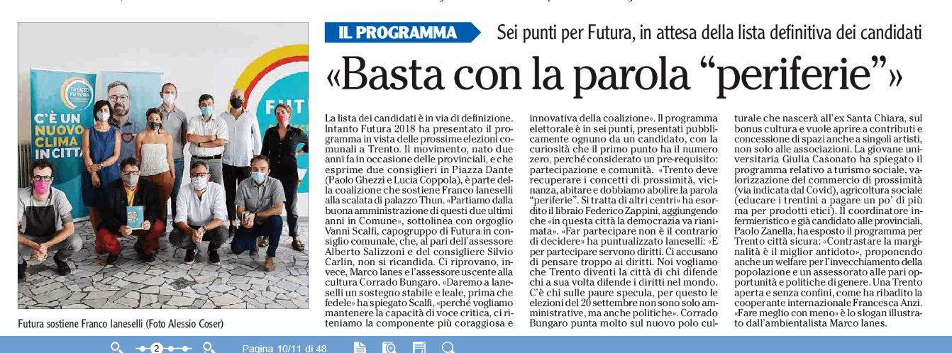 """""""Basta con le periferie"""" - l'Adige, 23/07/2020"""
